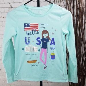 Gap Kids Long Sleeve Graphic USA Tee Sz XL